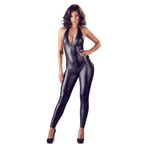 Sexy crotchless Wetlook Catsuit
